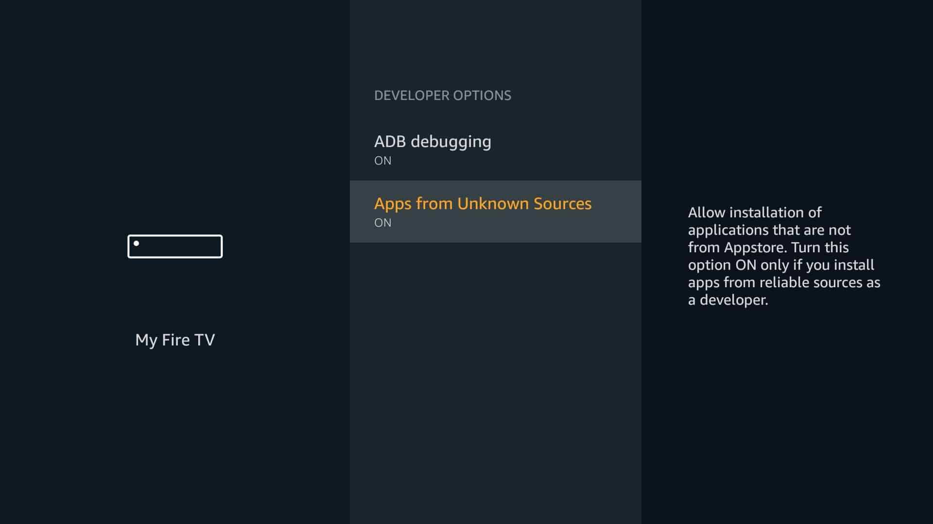 Set Apps from Unknown Sources to ON